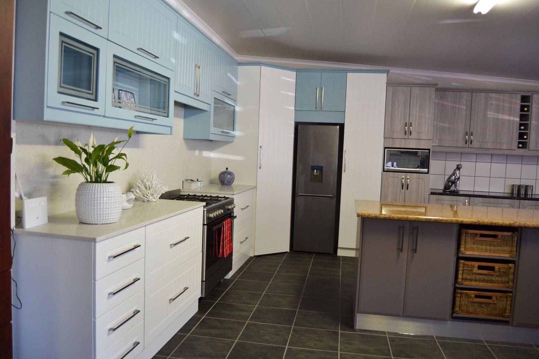cupboard value cato ridge blue and white kitchen - Kitchens In Durban