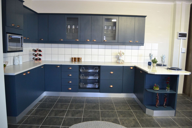 cupboard value cato ridge blue kitchen white marble tops - Kitchens In Durban